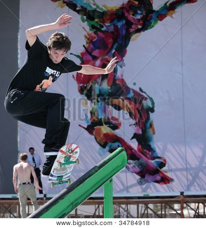 MOSCOW, RUSSIA - JULY 8: Gennady Kakusha, Russia, in skateboard competitions during Adrenalin Games in Moscow, Russia on July 8, 2012
