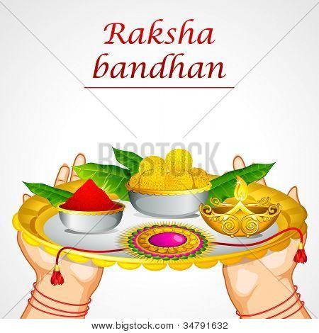 illustration of woman hand holding decorated thali for raksha bandhan
