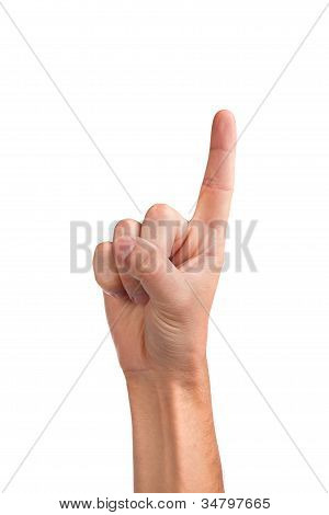 Man Index Finger On A White Background