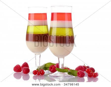fruit jelly in glasses and raspberries isolated on white