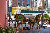 Outdoor Cafe With Wicker Furniture. Copenhagen. Denmark.architecture Details poster