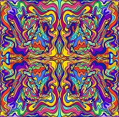 Psychedelic Colorful Surreal Doodle Fractal. Mirror Abstract Pattern, Maze Of Wavy Ornaments. poster