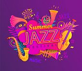 Poster For Summer Jazz Musical Festival With Classic Music Instruments - Cello, Cornet, Tuba, Clarin poster