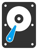 Raster Hard Disk Flat Icon. Raster Pictogram Style Is A Flat Symbol Hard Disk Icon On A White Backgr poster