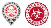 Coronavirus Mosaic Dangerous Zone Pointer Icon And Rounded Corroded Stamp Watermark With Dangerous P poster