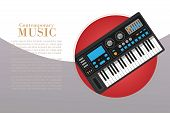 Contemporary Music With Electronic Piano Vector Illustration. Music Creation And Modern Music Equipm poster