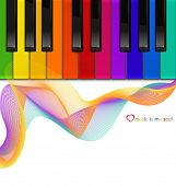 image of rainbow piano  - vector colorful piano keyboard on a white background - JPG