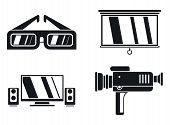 Home Movie Show Icons Set. Simple Set Of Home Movie Show Vector Icons For Web Design On White Backgr poster