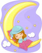 stock photo of nightgown  - Illustration Featuring a Girl Sleeping Soundly - JPG