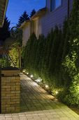 picture of garden sculpture  - Backyard Garden Pavers Path Brick Column with Bronze Crane at Night - JPG