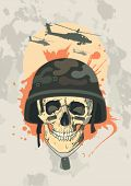 Military design template with human skull.