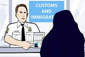 picture of niqab  - Conceptual vector illustration of a passport control of woman wearing niqab - JPG