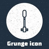 Grunge Line Torch Flame Icon Isolated On Grey Background. Symbol Fire Hot, Flame Power, Flaming And  poster