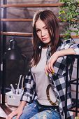 Art Portrait Of A Beautiful Girl. Gorgeous Brunette Girl, Portrait In Night City Lights. Vogue Fashi poster