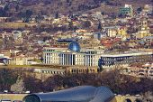 Presidential Palace In Tbilisi. Photos In The Winter. The Palace Is Built In The Style Of Classicism poster