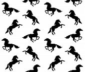 Vector Seamless Equestrian Pattern Of Black Different Running Horse Silhouette Isolated On White Bac poster