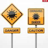 Coronavirus Warning And Caution Square Signs Set. Vector Illustration Isolated On White Background. poster
