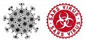 Coronavirus Mosaic Sars Virus Icon And Rounded Rubber Stamp Watermark With Sars Virus Phrase. Mosaic poster
