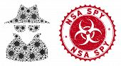 Coronavirus Collage Spy Icon And Rounded Grunge Stamp Seal With Nsa Spy Caption. Mosaic Vector Is Cr poster