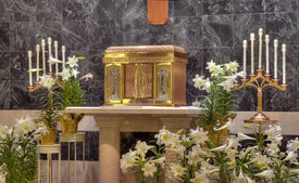 stock photo of tabernacle  - ornate gold Catholic Church Tabernacle on alter - JPG