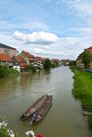 picture of regnitz  - Bamberg city in Bavaria Germany located in Upper Franconia on the river Regnitz historic city center is a listed UNESCO world heritage site - JPG