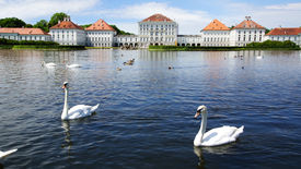stock photo of munich residence  - Picturesque nature landscape with Nymphenburg Palace Munich - JPG