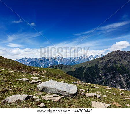 Travel Himalayas background. Above Kullu Valley, Himachal Pradesh, India Valley, Himachal Pradesh, India