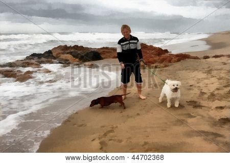 Painting Boy Taking Dogs For First Stroll On Beach