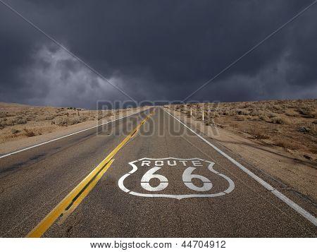 Historic Route 66 storm sky in California's Mojave desert.