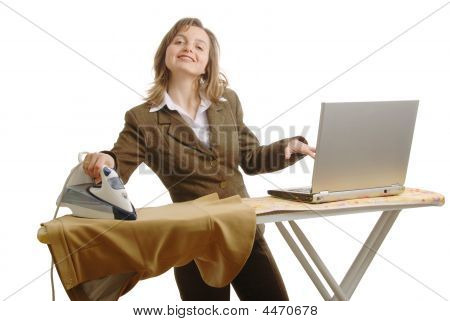 Bussiness Woman With Laptop And Iron