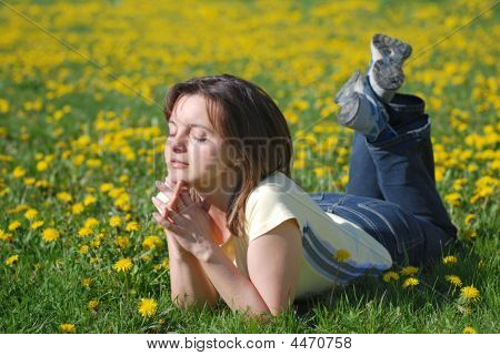 Woman Lying In Field Of Dandelions
