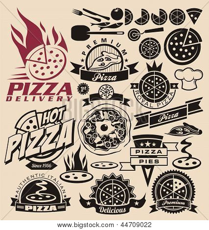 Pizza labels and icons