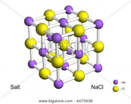 Isolated 3D Model Of A Crystal Lattice Of Salt