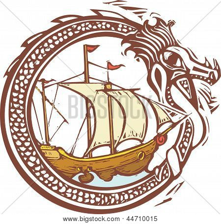 Dragon And Ship