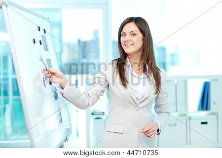 Portrait of a lovely young businesswoman presenting her project on board