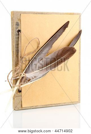 Beautiful old notebook isolated on white