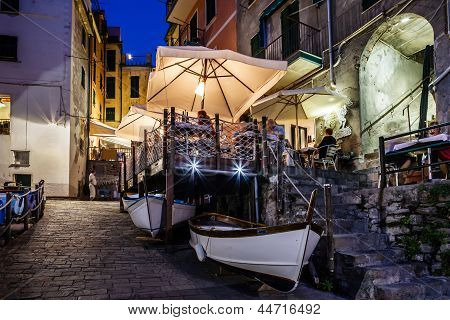 Illuminated Street Of Riomaggiore In Cinque Terre At Night, Italy