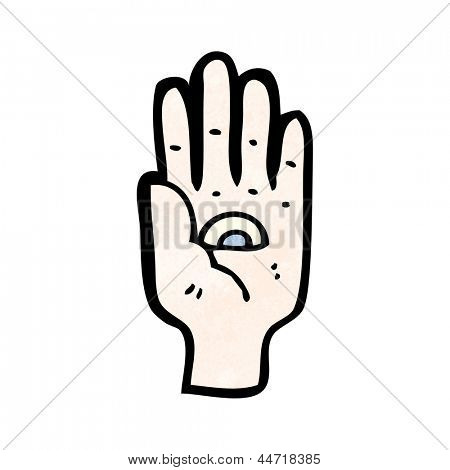 spooky all seeing eye hand symbol