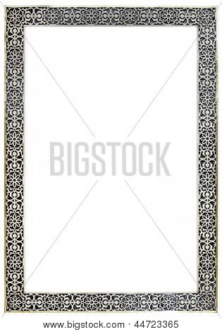 Empty Vintage Moroccan Pewter Mirror Frame Isolated with Clipping Paths