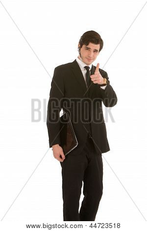 Business Executive Pointing Finger