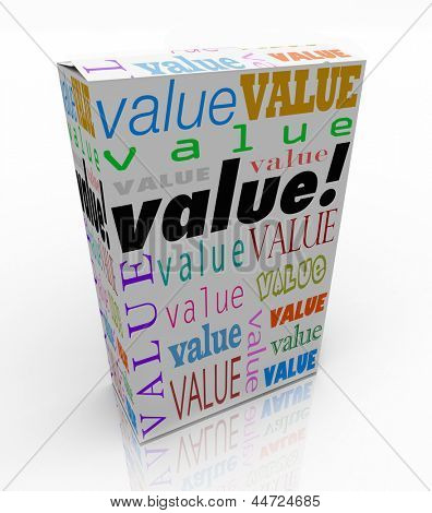 The word Value on a product box to symbolize or advertise it is the best package in terms of quality, price, and reputation of its contents