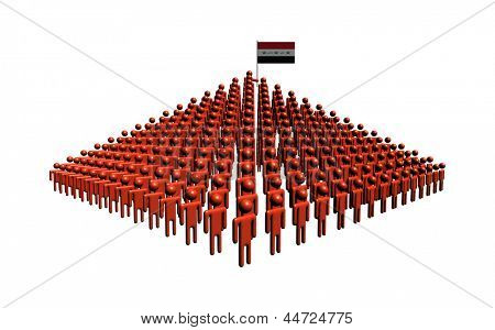 Pyramid of abstract people with Iraqi flag illustration