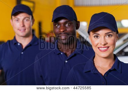 group of auto repair shop employees