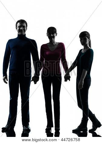 one caucasian family father mother daughter man holding hands in silhouette studio isolated on white background
