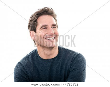 one caucasian man mature handsome man laughing portrait studio  white background