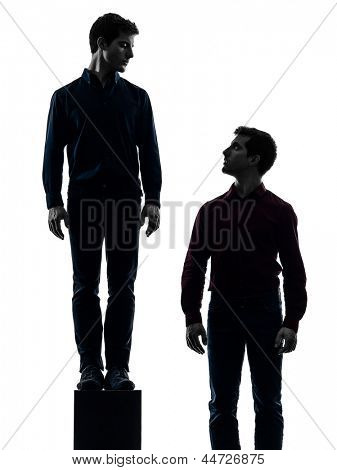 two caucasian young men dominant concept shadow  white background
