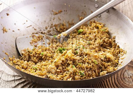 fried rice in wok