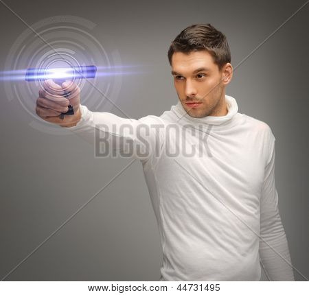picture of futuristic man with sci fi weapon