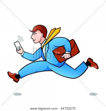 Young businessman running in a hurry isolated