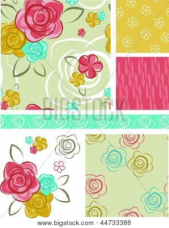 Summer Floral Rose Vector Seamless Patterns and Elements. Use as fills, digital paper, or print off onto fabric to create unique items.